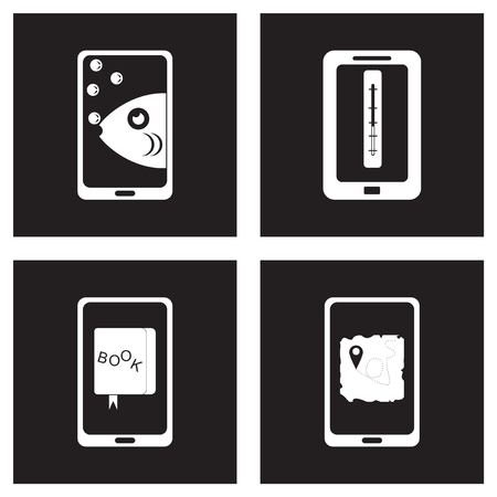 Concept flat icons in black and white mobile applications Illustration