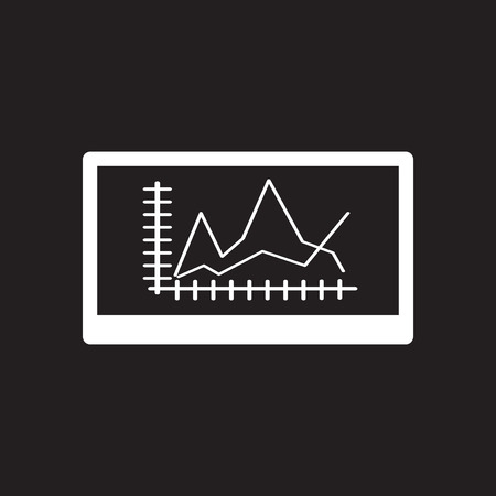 uniting: Flat icon in black and white economic graph