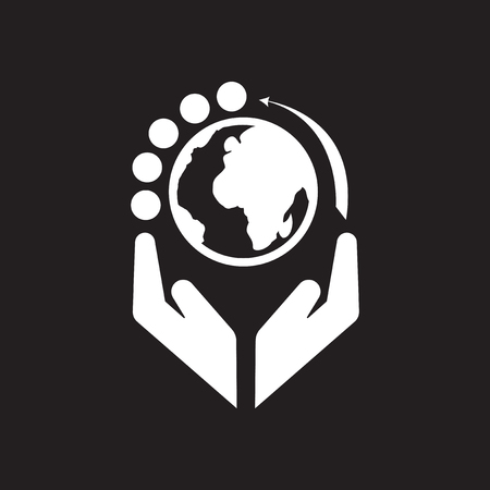 earth hands: Flat icon in black and white Earth hands