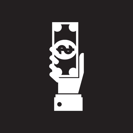 Flat icon in black and white dollar hand Illustration