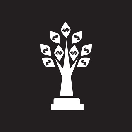 bank branch: Flat icon in black and white Money Tree