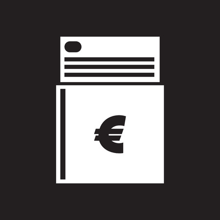 checkbook: Flat icon in black and white checkbook