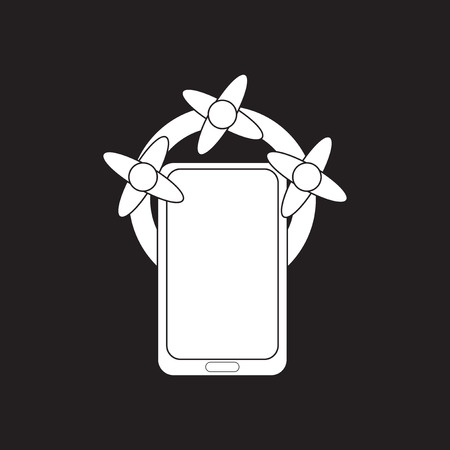 Flat icon in black and white mobile phone Illustration