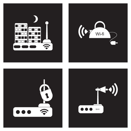 Concept flat icons in black and white Wi fi modem