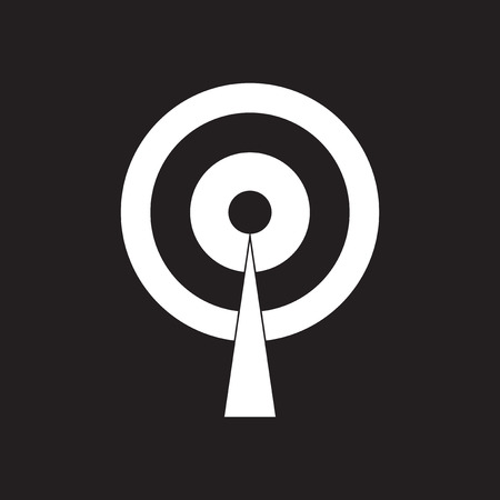 Flat icon in black and white mobile Wi fi tower Illustration