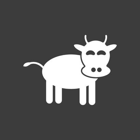 flat icon in black and white style cow