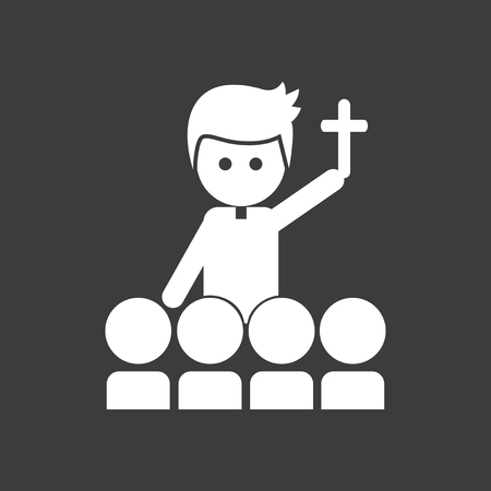 flat icon in black and white style Priest Illustration