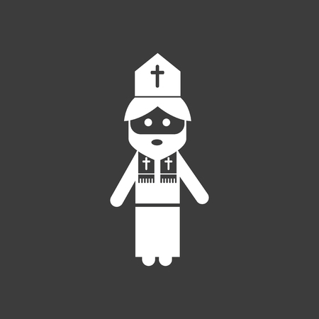 flat icon in black and white style Priest Vectores
