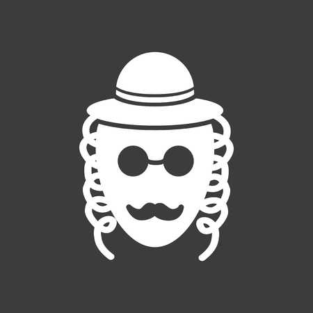 flat icon in black and white style Jew Illustration