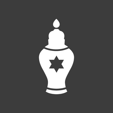 shalom: flat icon in black and white style Jewish candle Illustration
