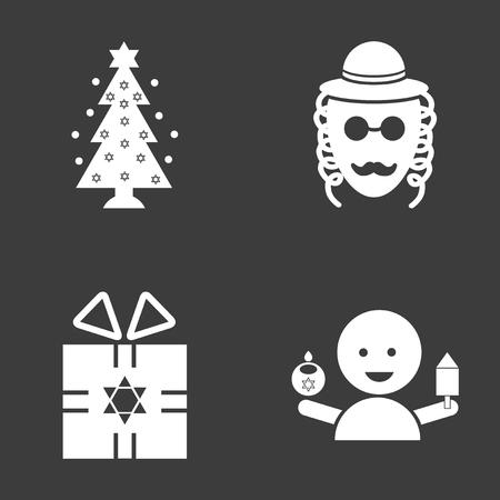 gelt: Set of flat icon in black and white style Hanukkah Illustration