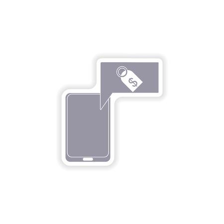 phone money: paper sticker on white background mobile phone money