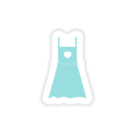 summer dress: paper sticker on white background summer dress