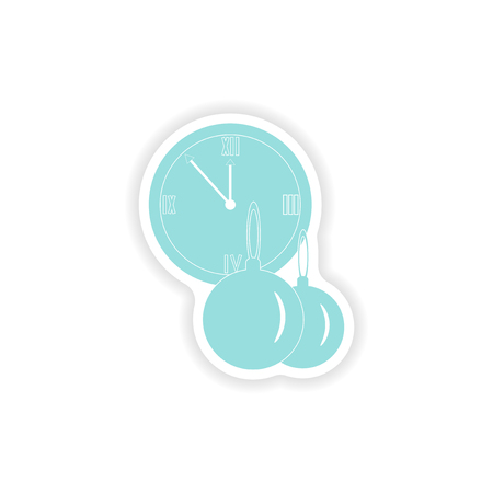 paper sticker on white background clock Christmas balls
