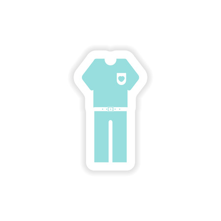 waistcoat: paper sticker on white background men trousers shirt Illustration