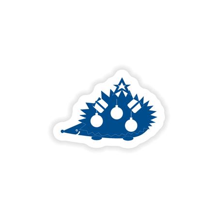 paper sticker on white background hedgehog gifts