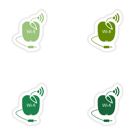 wi: Set of paper sticker on white background   Wi-Fi router Illustration