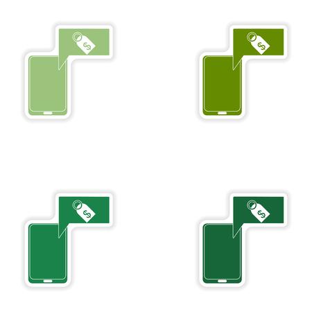 phone money: Set of paper stickers on white background mobile phone money Illustration