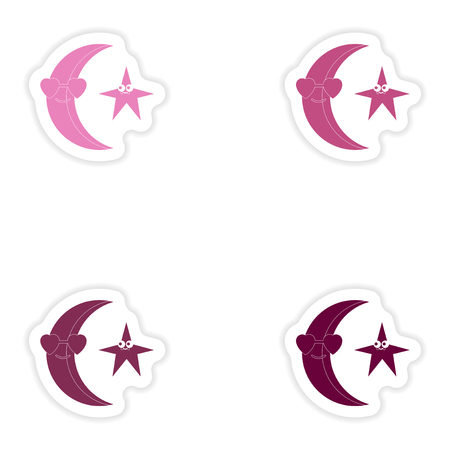 meteorological: Set of paper stickers on white background moon star