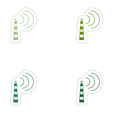 wi: Set of paper sticker on white background  Wi fi tower