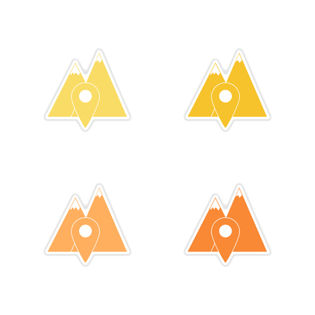 rocky road: Set of paper stickers on white  background mountain location