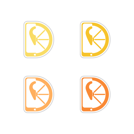 Set of paper stickers on white  background mobile location