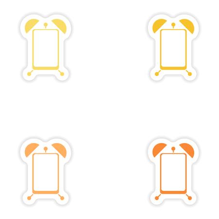 Set paper sticker on white background Mobile Phone alarm clock