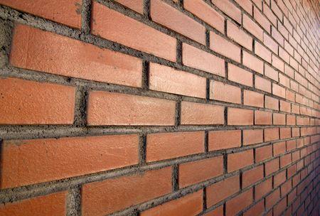tilt: tilt wall, red bricks and sun Stock Photo