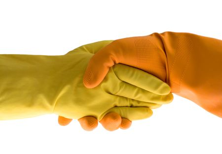 handshake, gloves and protect, isolated white photo