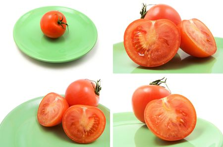 page of isolated tomatoes on green plate photo