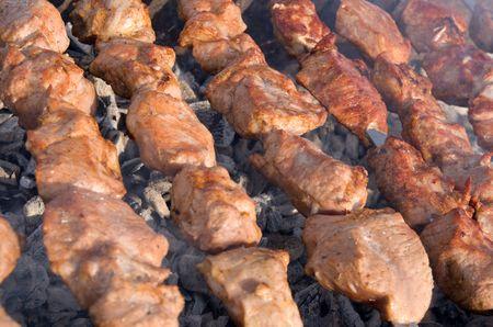 shashlik (barbecue) on the fire photo