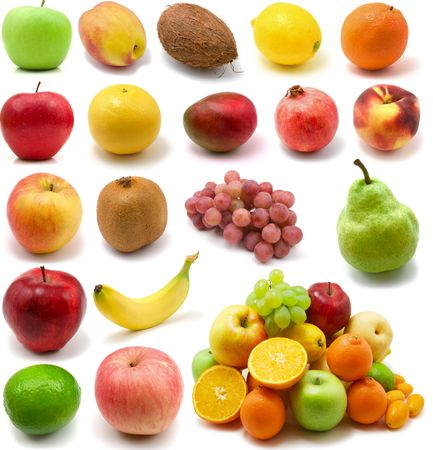 large page of fruits isolated on the white background photo