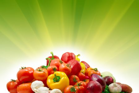 wet vegetables and sunny background Stock Photo