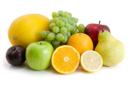 collection of fresh fruits isolated on white Stock Photo - 3088688