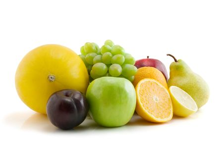 colection of fresh fruits isolated on the white background Stock Photo - 3088677