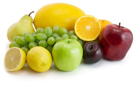colection of fresh fruits isolated on the white background Stock Photo - 3088679