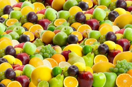 collection of fresh fruits background Stock Photo - 3270956