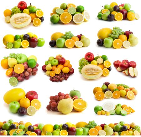 large page of fresh fruits isolated on the white Stock Photo - 3270975