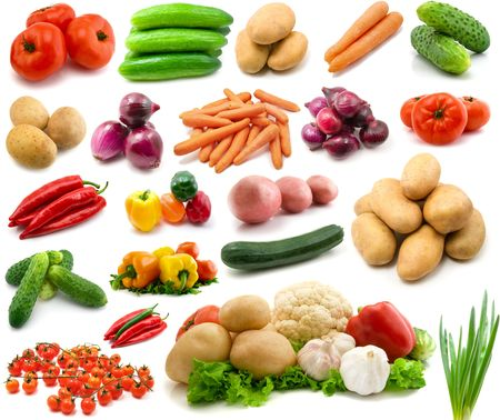 large page of vegetables isolated on the white photo