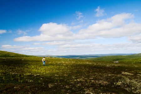 one traveler are walking in mountain tundra photo