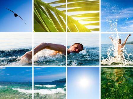 collage of active fun by sea Stock Photo - 3518365