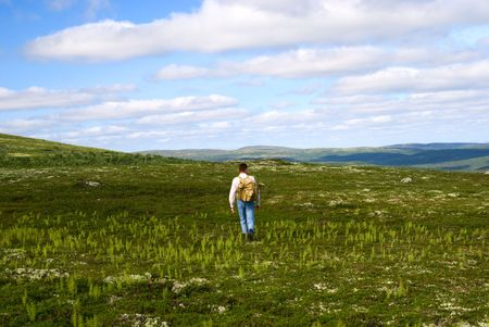 one traveler stand on top of mountain in north tundra photo