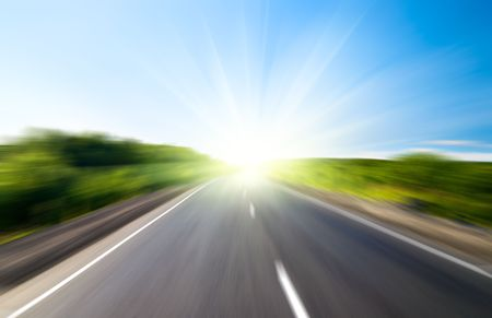 motion blur road and sun Stock Photo - 3610316