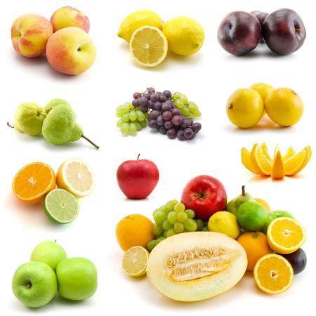 ciruela: P�gina de frutas aisladas sobre fondo blanco