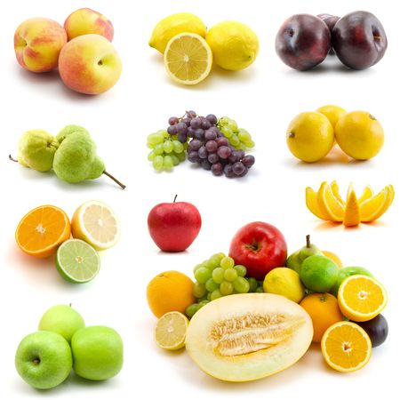 page of fruits isolated on white background photo