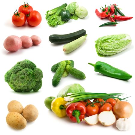page of vegetables isolated on the white background