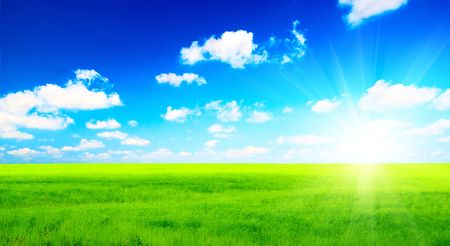 colorful cloudscape: perfect green field and sky