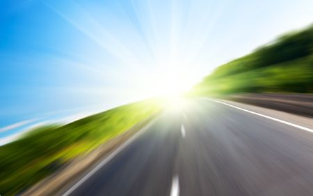 motion blur road and sun Stock Photo - 3703948