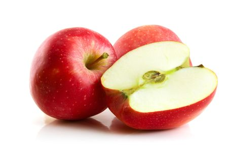 half an apple: red apple isolated on the white Stock Photo