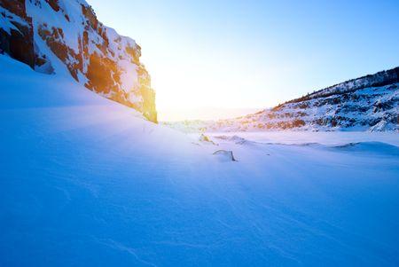 winter north lake and sunset photo